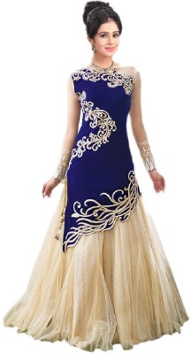 SkyBlue Fashion Velvet Embroidered Semi-stitched Gown & Salwar Material
