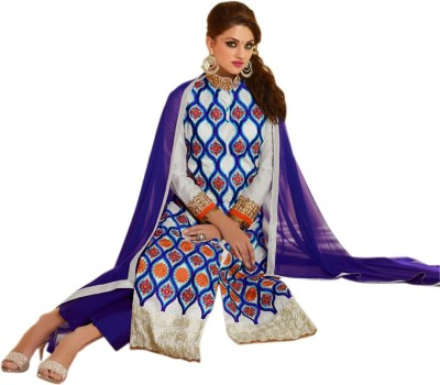 SkyBlue Fashion Georgette Embroidered Semi-stitched Salwar Suit Dupatta Material