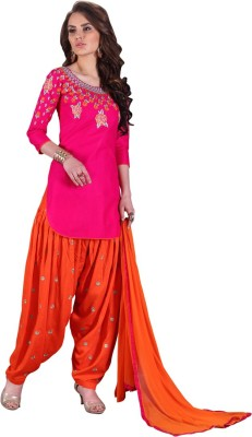 Saara Cotton Embroidered, Paisley, Solid Salwar Suit Dupatta Material(Un-stitched) at flipkart