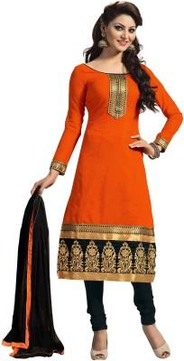 F3 Fashion Cotton Self Design Semi-stitched Salwar Suit Material