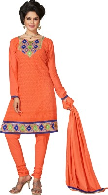 Cutie Pie Chanderi Embroidered Semi-stitched Salwar Suit Dupatta Material
