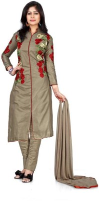 Vaidehi Fashion Cotton Embroidered Semi-stitched Salwar Suit Dupatta Material at flipkart