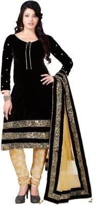 DealSeven Fashion Velvet Embroidered Salwar Suit Dupatta Material