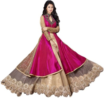 Suitnsarees Georgette Embroidered Semi-stitched Gown & Salwar Material