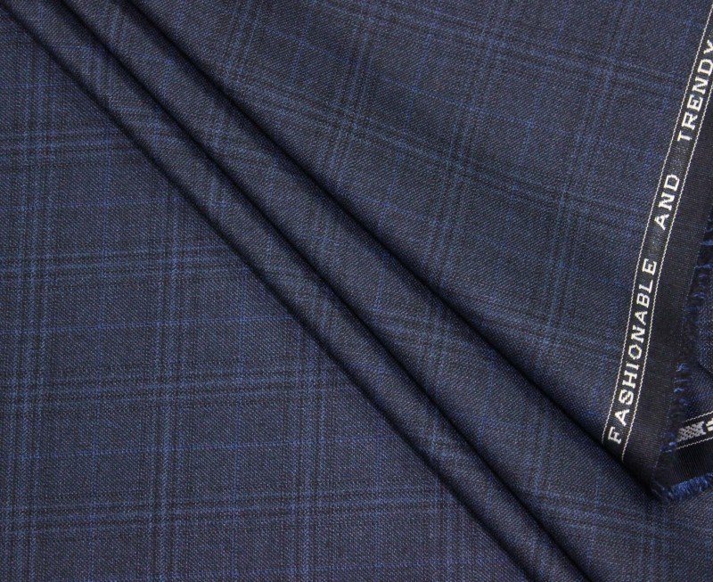 Raymond Cotton Polyester Blend Checkered Trouser Fabric(Un-stitched)