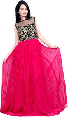 Aarnas Fashion Georgette Solid Semi-stitched Gown