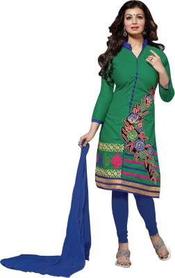 A1V Enterprise Cotton, Chiffon Embroidered Semi-stitched Salwar Suit Dupatta Material
