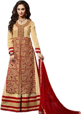 PeeKee Collection Georgette Embroidered Semi-stitched Salwar Suit Dupatta Material