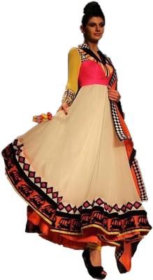 KrishnaFashion321 Georgette Embroidered Semi-stitched Salwar Suit Dupatta Material