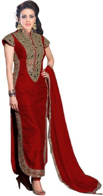 Style Mania Silk Embroidered Semi-stitched Salwar Suit Dupatta Material