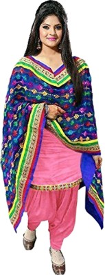 RKT Cotton Embroidered Semi-stitched Salwar Suit Dupatta Material