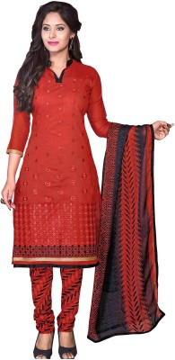Frenzy Fashion Chanderi Embroidered Salwar Suit Dupatta Material