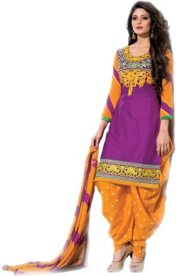 Manashi Cotton Embroidered, Floral Print Semi-stitched Salwar Suit Dupatta Material