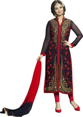 JS Pavitra Fabrics Georgette Embroidered Semi-stitched Salwar Suit Dupatta Material