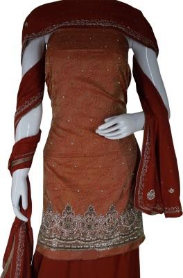 Haleema Crafts Silk Woven, Embroidered Salwar Suit Dupatta Material