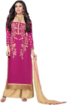 Suitevilla Chiffon Embroidered Semi-stitched Salwar Suit Dupatta Material