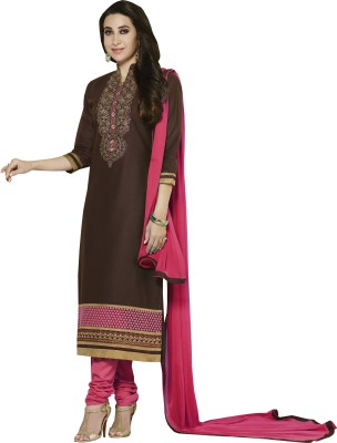 Fabcart Cotton Embroidered Semi-stitched Salwar Suit Dupatta Material