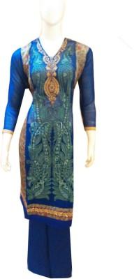Boenjoy Georgette, Satin Solid Semi-stitched Salwar Suit Material