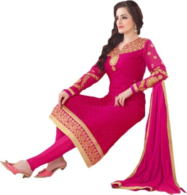 Uppa Georgette Embroidered Semi-stitched Salwar Suit Dupatta Material