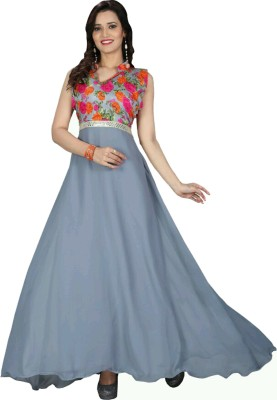 indara Georgette Embroidered Semi-stitched Gown & Salwar Material