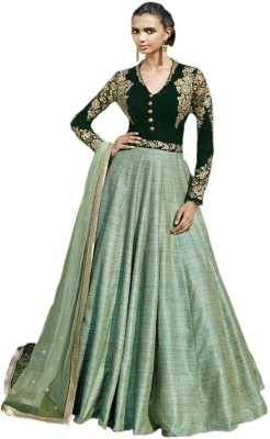 Shoponbit Velvet Embroidered Semi-stitched Gown, Salwar and Dupatta Material
