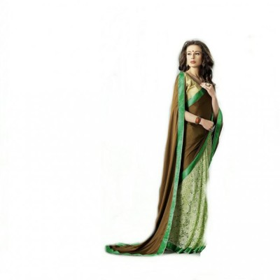 SMARTLOOK Solid Bollywood Satin Sari