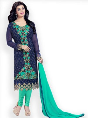 Fabliva Georgette Embroidered Semi-stitched Salwar Suit Dupatta Material