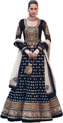 Admyrin Georgette Self Design, Solid Semi-stitched Salwar Suit Dupatta Material (Unstitched)