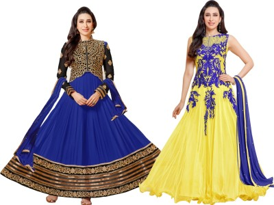 Fabfiza Net, Georgette Embroidered Semi-stitched Salwar Suit Dupatta Material
