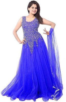 Aahira Net Self Design Semi-stitched Salwar Suit Dupatta Material