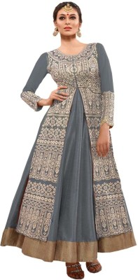 krupasarees01 Georgette Embroidered Semi-stitched Gown & Salwar Material
