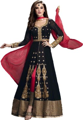 We Care Creation Georgette Embroidered Semi-stitched Salwar Suit Dupatta Material