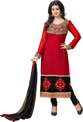 Mani Georgette Embroidered Semi-stitched Salwar Suit Dupatta Material