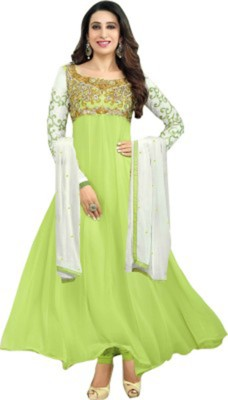 VINCITORE Georgette Embroidered Semi-stitched Salwar Suit Dupatta Material