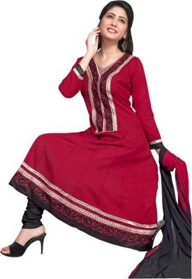 Manvaa Cotton Self Design Semi-stitched Salwar Suit Dupatta Material