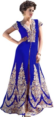 The Four Hundred Georgette Embroidered Semi-stitched Gown & Salwar Material
