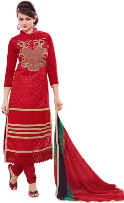 Fabliva Chanderi Embroidered Semi-stitched Salwar Suit Dupatta Material