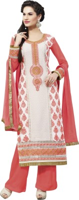 B3 Fashion Georgette Embroidered Semi-stitched Salwar Suit Dupatta Material