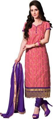 Vastrakosh Chanderi Embroidered Semi-stitched Salwar Suit Dupatta Material