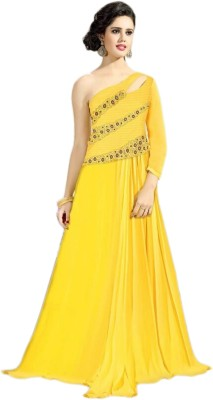 Justchic Georgette Embroidered Dress/Top Material