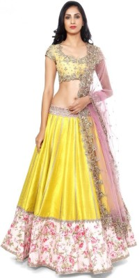 Shree Creation Silk, Net Embellished Semi-stitched Lehenga Choli Material