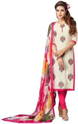 Santosafashion Cotton Self Design Semi-stitched Salwar Suit Dupatta Material