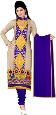 Aarna's Collection Chanderi Embroidered Semi-stitched Salwar Suit Dupatta Material