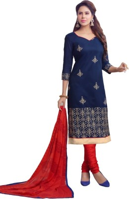 DANEVFASHION Chanderi Embroidered Semi-stitched Salwar Suit Dupatta Material