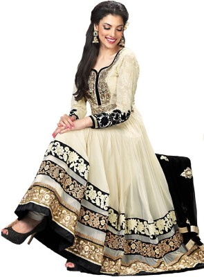 Priyanka Creation Georgette Embroidered Semi-stitched Salwar Suit Dupatta Material