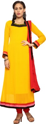 Designersareez Chiffon Solid Semi-stitched Salwar Suit Dupatta Material