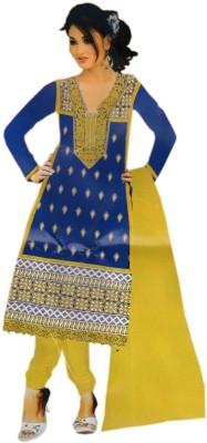 Kukee Cotton, Chiffon Embroidered Semi-stitched Salwar Suit Dupatta Material