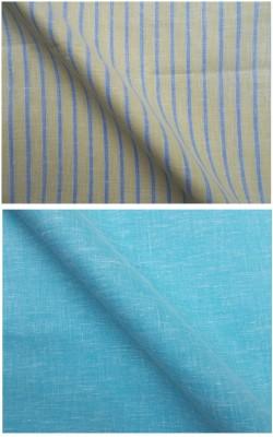 Azed Cotton Linen Blend Striped, Solid Shirt Fabric, Shirt Fabric