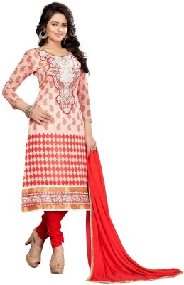 FABCART Chanderi Embroidered Salwar Suit Dupatta Material