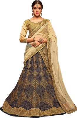 Jiya Velvet Self Design, Embroidered, Embellished Semi-stitched Lehenga Choli Material